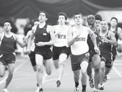 Shore Regional's Rob Faccone (center) leads the pack in the boys 400-meter dash during the Monmouth County Track & Field Championships on Jan. 22. Shore Regional's Cameo Kirk nears the finish line in the girls 400-meter dash during the meet, held at the Bennett Indoor Complex in Toms River. ERIC SUCAR staff