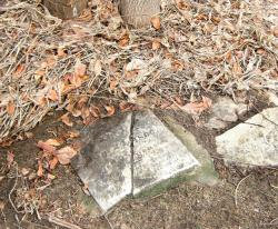A splintered tombstone marks a grave at Locust Grove Cemetery in Eatontown where Samuel 'Mingo Jack' Johnson is believed to be buried.