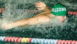Brick Township High School's Tyler Huizing plows through the butterfly portion of the 200-yard individual medley race during the Ocean County swimming championships at the Ocean County YMCA in Toms River on Jan. 9. See story, page 14. CHRIS KELLY staff