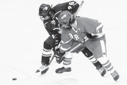 Brick Township's Brendan Dowd (3) tries to beat out Marlboro's Nicholas Haase (26) for a face-off during home hockey game at the Ocean Ice Palace on Jan. 15. CHRIS KELLY staff