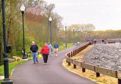 Residents stroll along the 1.7-mile path that encircles the Brick reservoir.