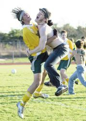 Brick Memorial soccer player Chris Cannon is hugged in celebration by Anthony Rucci after the Mustangs defeated Freehold Township for the NJSIAA Central Jersey Group IV state championship in Nov. 2003. This photo took first place in the New Jersey Press Association's 2003 contest.