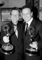 """East Brunswick native Jim Vallely (l), a writer and consulting producer for Fox's """"Arrested Development,"""" and executive producer and series creator Mitch Hurwitz show off their Emmys following the Sept. 18 awards ceremony."""