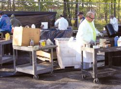 Middlesex County residents drop off household hazardous waste items and paint materials during a collection day at the Middlesex County Highways Division facility in North Brunswick.  PHOTO COURTESY OF MIDDLESEX COUNTY
