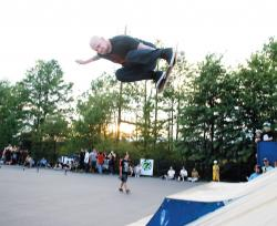 "Professional skateboarder Mike Vallely flies high at the Edison Skateboard Park on Aug. 2. ""Mike V."" made a pit stop in his hometown during his Glory Bound Skatepark Tour. PHOTO COURTESTY OF MIKE SCHWARTZ"