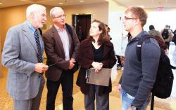 """Rutgers University professor Ross Baker (l-r), columnist Tom Moran, Democracy House Director Jennifer Altman, and student Anatoly Doubrovny of East Brunswick speak during the """"You Decide"""" event at Middlesex County College."""