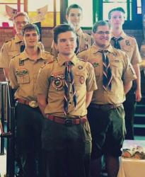 Six of the seven recently ranked Eagle Scouts from Troop 17 gather for a photo during their June Court of Honor ceremony. Pictured are Chris Saulys, front; center row, left to right, Anton Nelson and Brian Thomas; and rear, left to right, Joel Nadler, Nikolai Krebs and Chris Gough.  PHOTO COURTESY OF ANNE NEWMAN