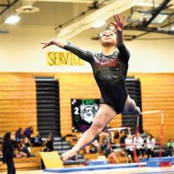 Bishop George Ahr High School's Ariyana Agarwala captured the all-around title at the Greater Middlesex Conference (GMC) Gymnastics Championships Oct. 24 at South Brunswick High School. Agarwala also won three of the four individual events as she helped Bishop Ahr win its 16th GMC crown. SCOTT FRIEDMAN
