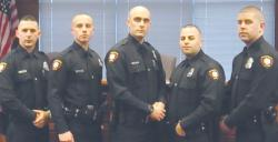 Woodbridge Police Department announces appointment of five to officers to patrol ranks. (l-r) Police Officer Nicholas James Errico: Police Officer Christopher Rendeiro Esteves: Police Officer Joseph William Russyk: Police Officer Michael Joseph Hart: Police Officer Matthew Edward Dougherty.