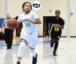 Middlesex Community College's Ziykara Hicks, driving for two in a recent game at the Community College of Philadelphia, was named the Garden State Athletic Conference (GSAC) Player of the Week when she averaged 25 points, three steals and 3.5 assists a in leading Middlesex to a pair of victories. The Middlesex women's basketball team is 11-1 overall, first in the GSAC with a 7-0 mark and tops in Regional 19 with a 10-0 record.  MATT DENTON