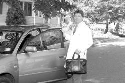 Dr. Jon Salisbury drives 100 miles a day to visit patients as a member of Visiting Physician Services, which provides a house call physician service.