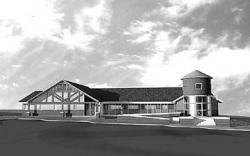 Architect's rendering of planned municipal office building in Upper Freehold.
