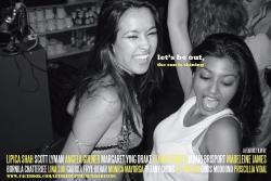 "Margaret Ying Drake (l) and Lipica Shah, in the roles of Teeny and Diya, share a jubilant moment on a promotional postcard for the feature film, ""Let's Be Out, the Sun Is Shining,"" an official selection of the 12th annual New York Indian Film Festival.  GABRIEL FRYE-BEHAR"