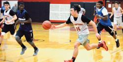 Tristan Millett is the only returning starter from the Allentown High School boys' basketball team that finished 16-10 last winter. Despite heavy losses to graduation in June, the Redbirds are off to a 3-1 start.  MATT DENTON