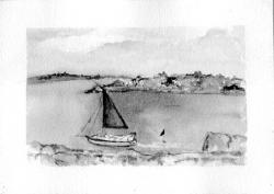 """""""Sailboat"""" (above) and """"French Villa"""" (right) are among the works on exhibit at the Red Bank Library."""