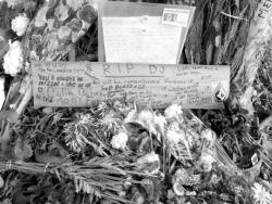 ELAINE VAN DEVELDE Flowers blanket the ground and messages adorn a makeshift plaque and tree on Middletown-Lincroft Road where Middletown resident Dennis J. Wheeler, known as D.J., was killed in a car accident Nov. 21.