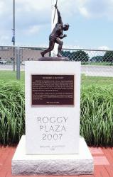 The Bob Roggy Plaza at the Holmdel High School football field honors the memory of late Holmdel graduate Bob Roggy, who held the American record in the javelin throw.