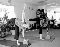 Yoga instructors Diane Erbe-Maltabes (l) and Denise Trimble demonstrate the half-moon pose in the Inner Light Yoga studio located in Lion's Plaza on Route 130.