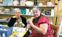 Brandywine resident Flo Webber and A Stroke of Creativity's Patty Lang work together on a ceramics project at the Monroe studio.  PHOTOS COURTESY OF STEPHANIE GABER