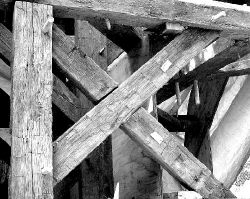 A closeup shows original wooden beams from the St. Peter's Episcopal Church steeple. The church, a landmark at the corner of Throckmorton and West Main streets, Freehold Borough, will celebrate its 300th anniversary in 2002.