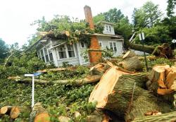 Photos show damage done by a wind and rain storm that hit Freehold Borough at 10 p.m. July 28. Above, a tree split a home on Oak Street; at right, a car on Glendale Road was crushed by a falling tree.  PHOTOS BY JEFF GRANIT staff