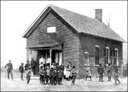 The Morristown School, pictured in 1906, still stands on School House Road but is in danger of collapsing. The building, which replaced an earlier building that burned down in 1897, was expanded in 1917 and was used for classes until 1948.