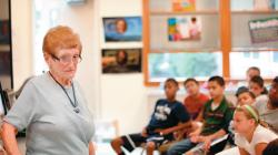Ilsa Loeb tells her story to students in Adele Goldenberg's fifth-grade class.  PHOTOS BY ERIC SUCAR staff