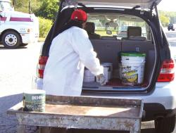 Middlesex County residents drop off household hazardous waste items and paint materials during a collection day at the Middlesex County Highways Division facility in North Brunswick.